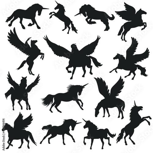 Obraz na płótnie Unicorn and Pegasus Illustration Clip Art Design Scene
