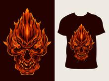 Illustration Vector Burn Skull Fire With T Shirt Design
