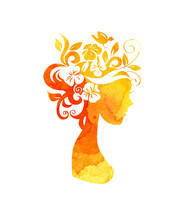 Watercolor Illustration Of A Silhouette Of A Girl With Flowers In Her Hair With Yellow Spots Of Paint. Summer Girl, Autumn. Flower Fairy. Silhouette For Design Isolated On White Background.