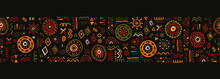 Hand Drawn Abstract Seamless Pattern, Ethnic Background, African Style - Great For Textiles, Banners, Wallpapers, Wrapping - Vector Design