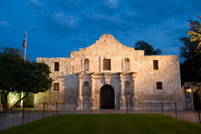Illuminated Historic Alamo Mission, National Landmark, In San Antonio, Texas, USA