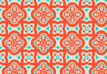 Pattern Background With Orange And Teal Morrocan