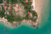 Aerial Image With Drone From Praia Do Forte In Florianópolis Santa Catarina Brazil In The Fortress Of São José De Ponta Grossa