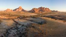 Panoramic Aerial View Of Spitzkoppe Mountain Range Landscape, Damaraland, Namibia.