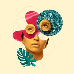 Modern design, contemporary art collage. Inspiration, idea, trendy urban magazine style. Female beauty portrait divided on pastel background