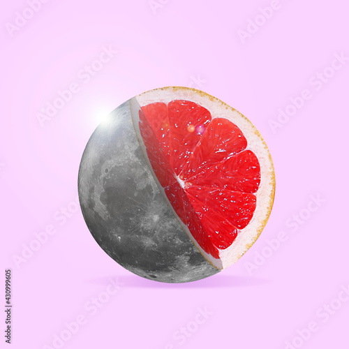 Fototapeta Modern design, contemporary art collage. Inspiration, idea, trendy urban magazine style. Big moon filled with grapefruit slice on pastel background obraz