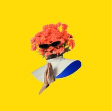 Modern Design, Contemporary Art Collage. Inspiration, Idea, Trendy Urban Magazine Style. Flower Bouquet Like Woman Praying On Yellow Background