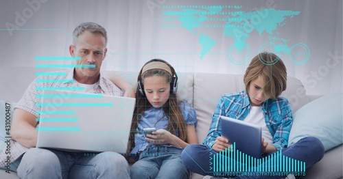 Composition of world map and charts over caucasian father son daughter using electronic devices