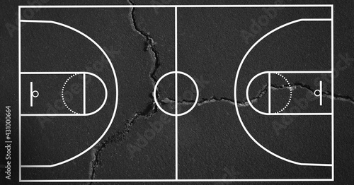 Composition of basketball court over grey cracked distressed surface