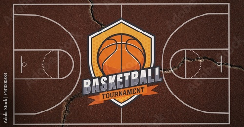 Composition of basketball tournament text over basketball court cracked distressed surface