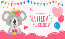Print Template With Koala Bear Princess For Welcome Sign In Pink Color.Vector Illustration In Flat Style.
