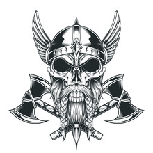 Vintage Skull And Axe Wing Monochrome Templat
