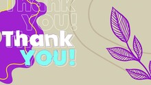 Digital Animation Of Thank You Text Against Purple Floral Designs On Beige Background