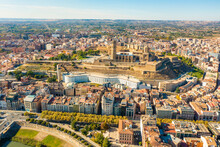 Aerial View Of Lleida Townscape With Sea Vella City Cathedral In Foreground, A Hilltop 18th-century Catholic Church, Catalunya, Spain.