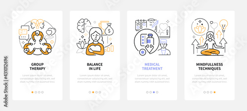 Psychology - modern line design style web banners - fototapety na wymiar