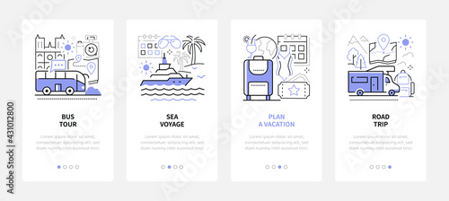 Fototapeta Traveling and tourism - modern line design style web banners obraz