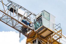 Tower Building Equipment Construction Crane Cabin Close-up On Blue Sky Background