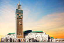 Casablanca, Morocco, Hassan II Mosque. It Is The Main Attraction And Symbol Of Today's Casablanca. The Most Grandiose And Magnificent Muslim Temple, Built In The XX Century And The Largest In Africa.