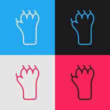 Pop Art Line Paw Print Icon Isolated On Color Background. Dog Or Cat Paw Print. Animal Track. Vector