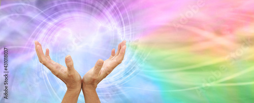 Fotografie, Obraz Healing Rainbow Vortex Energy Phenomenon Message Banner - female open hands reac