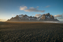 Sunset At Vestrahorn Mountain And Stokksnes Beach. Vestrahorn Is A Popular Tourist Attraction Along The Ring Road In Eastern Iceland.