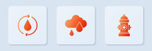 Set Cloud With Rain, Recycle Clean Aqua And Fire Hydrant. White Square Button. Vector