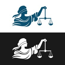 Lady Justice Theme Logo Vector Design With Related To The Attorney Of Law And Justice. Eps Format. She Bring Balance Of Scales. Help People To Make Happiness.