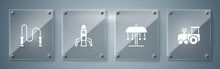 Set Toy Train, Attraction Carousel, Rocket Ship And Jump Rope. Square Glass Panels. Vector