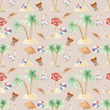 Seamless Pattern With Palm Trees, Umbrellas, Swimming Mask. Summer Wallpaper On The Beach Theme. Hand Drawn Watercolor Background For Fabrics, Textiles, Wrapping Paper, Design And Decoration.