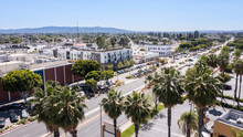 Sunny Daytime Aerial View Of Downtown Baldwin Park, California, USA.