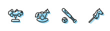 Set Line Baseball Bat With Ball, Swing Car, Horse Saddle Swing And Toy Horse Icon. Vector