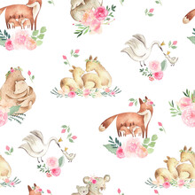 Watercolor Animals Seamless  Pattern With Mother And Baby Fox, Bear, Koala, And Alpaca With Flowers