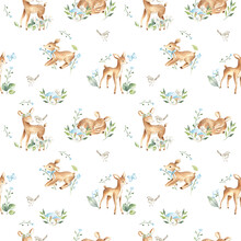 Watercolor Baby Deers Forest Woodland Animals With Blue Flowers Illustration Pattern
