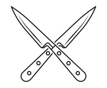 Crossed Kitchen Knife Line Art Vector Icon For Apps Or Websites