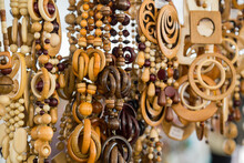 Close Up View Of Wooden Beads At Souvenir Market