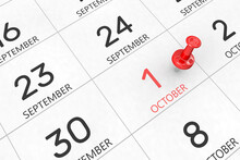 3d Rendering Of Important Days Concept. October 1st. Day 1 Of Month. Red Date Written And Pinned On A Calendar. Autumn Month, Day Of The Year. Remind You An Important Event Or Possibility.