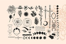 Hand Drawn Vector Abstract Stock Flat Graphic Illustrations Alchemy Esoteric Icons Collection Set With Logo Elements,magic Sacred Boho Moon Phases,stars,sun Silhouettes Isolated On White Background
