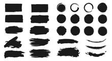 Abstract Grunge Paint Brush Stroke Set. Graphic Element Design With Ink Splatter Or Splash, Circle, Line And Frame. Creative Vector Shape Or Background Art Illustration Template.