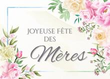 Carte Ou Bandeau Sur Joyeuse Fête Des Mères En Vert Dans Un Rectangle Bleu Avec Des Fleurs Rose Blanche Et Saumon Et Des Feuilles Verte Tout Autour