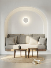 3d Rendering Of A Minimal Summer Mediterranean Cave House Space With Earthy Tones And A Grey Sofa