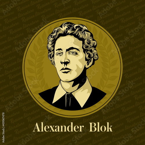 Obraz Vector portrait of a Russian writer. Alexander Alexandrovich Blok (1880-1921) was a Russian lyrical poet, writer, publicist, playwright, translator and literary critic. - fototapety do salonu