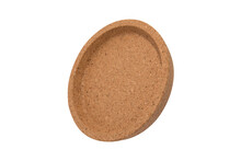 Round Cork Mat With Brown Border Isolated On White Background