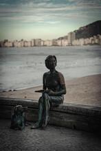Statue Of Writer Clarice Lispector At Leme Beach In Rio De Janeiro