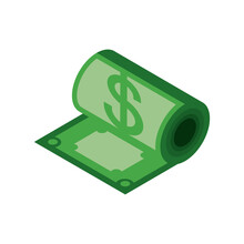 Money Roll Banknote Isometric