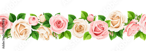 Vector horizontal seamless border with pink and white rose flowers. - fototapety na wymiar