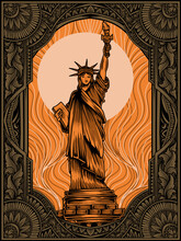 Illustration Vector Liberty Statue On Vintage Engraving Ornament