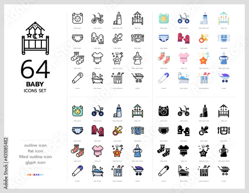 Fényképezés 64 baby icons set vector design in filled, thin line, outline and flat style