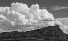 Badlands Erosion Rock Formations With Thunder Clouds In Black And White, South Dakota, United States Of America, USA.