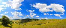 Panoramic Shot Of A Hilly Landscape With Green And Yellow Fields And Cloudy Blue Sky