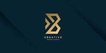 Golden Creative Logo With Initial B, Unique, Letter B, Premium Vector Part 2